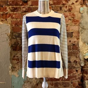 Loft Striped White and Blue Comfy Sweater